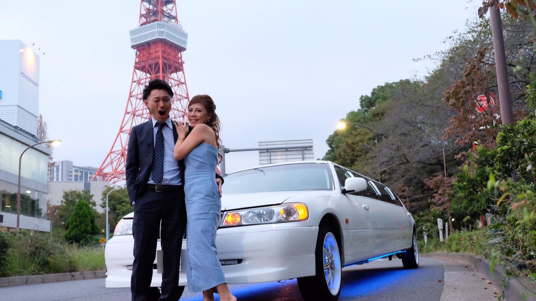 東京タワーでリムジンと一緒に撮影
