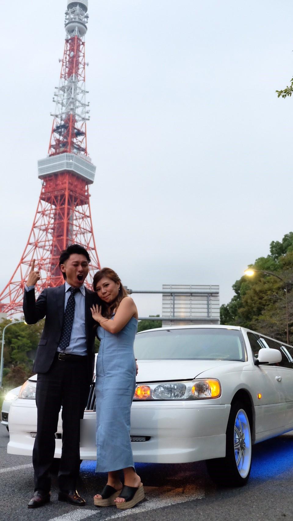 東京のシンボルがと記念撮影