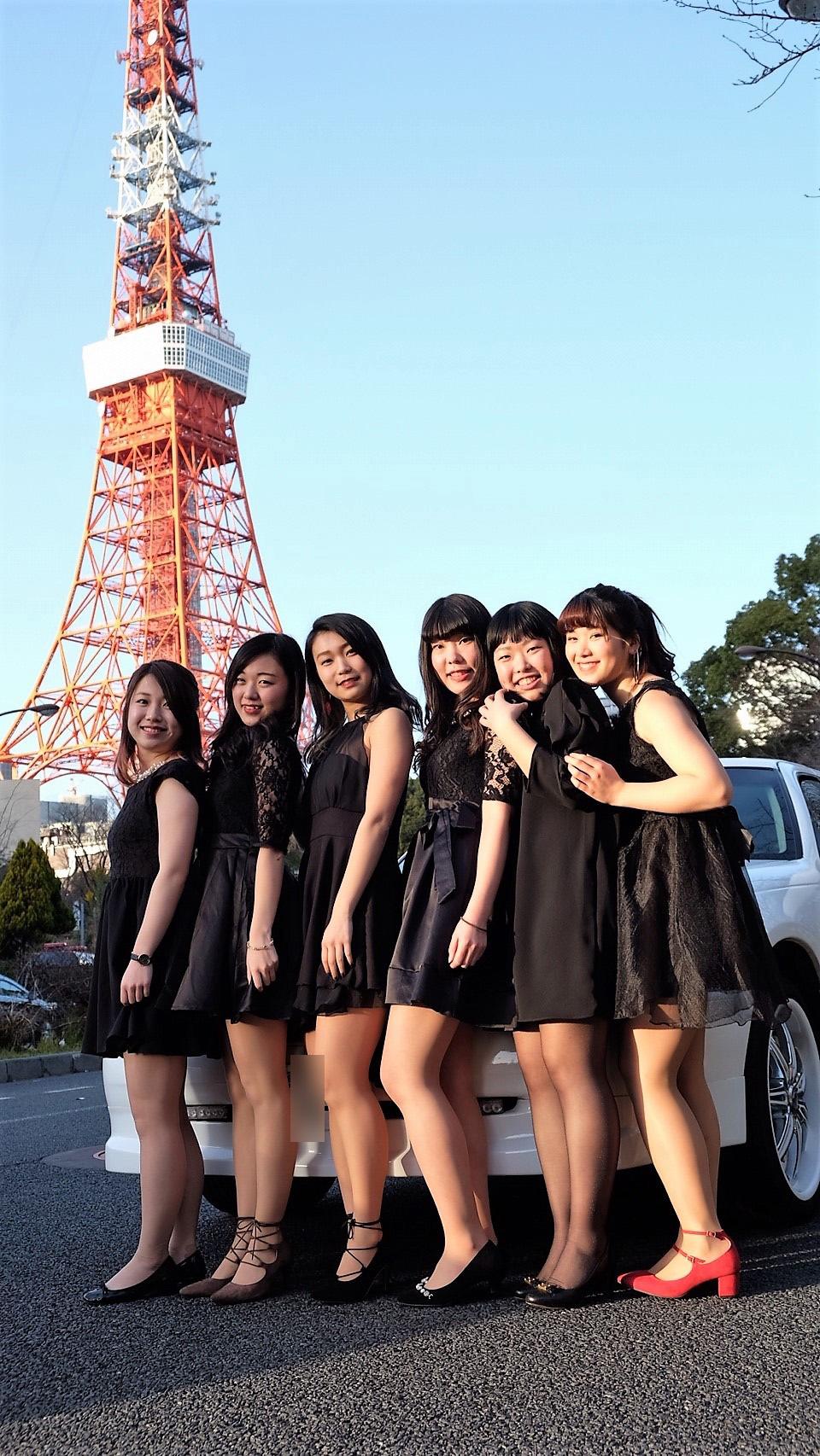 リムジンで女子会撮影東京タワー撮影