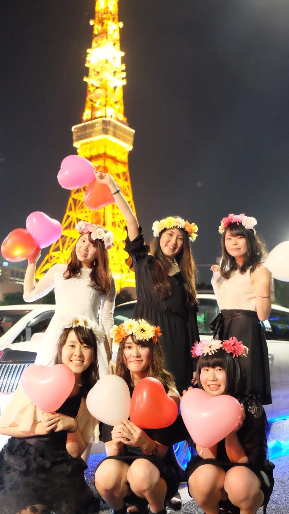 リムジンパーティーで東京タワー撮影