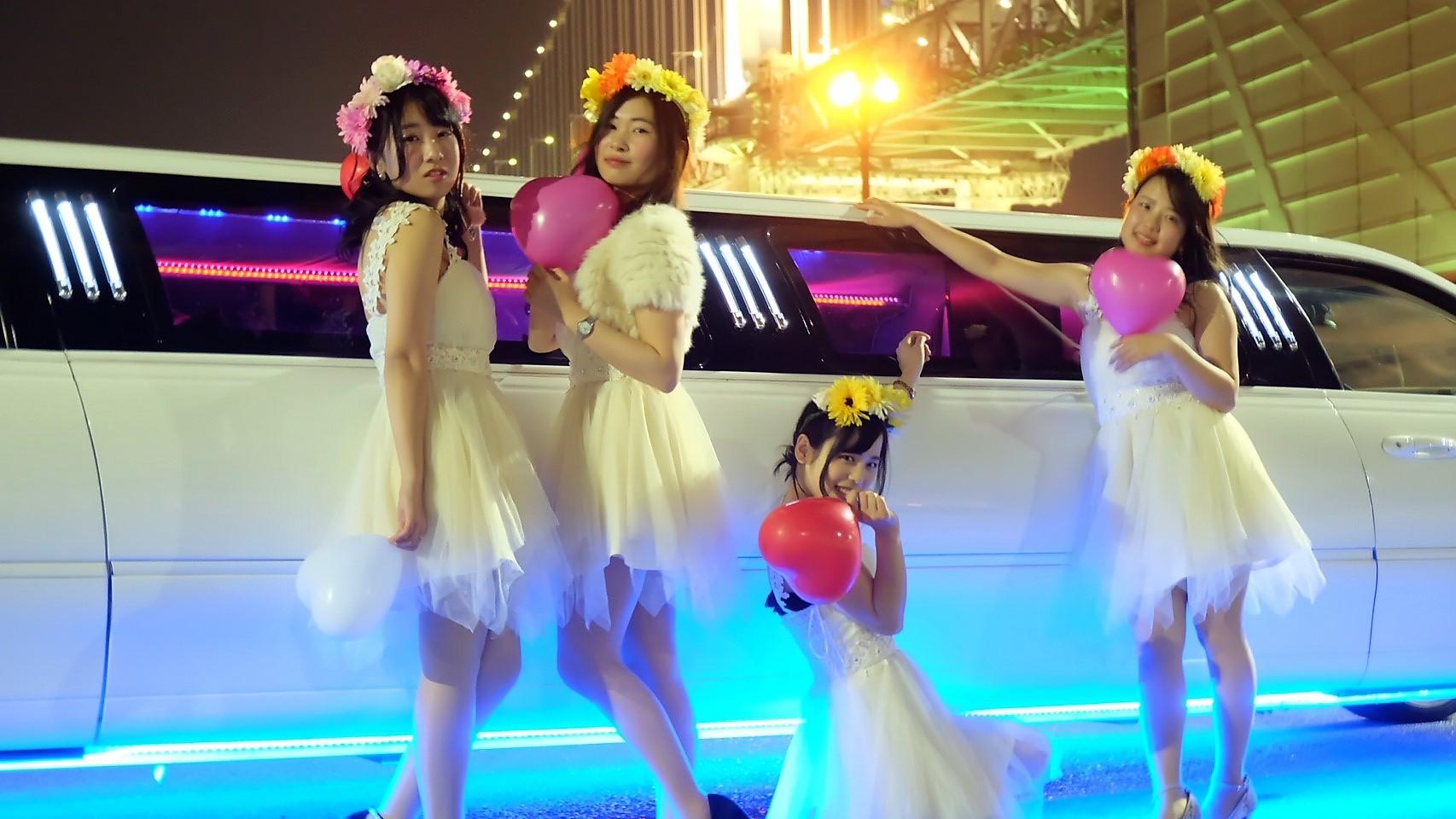 リムジンパーティーで東京のレインボーブリッジ撮影