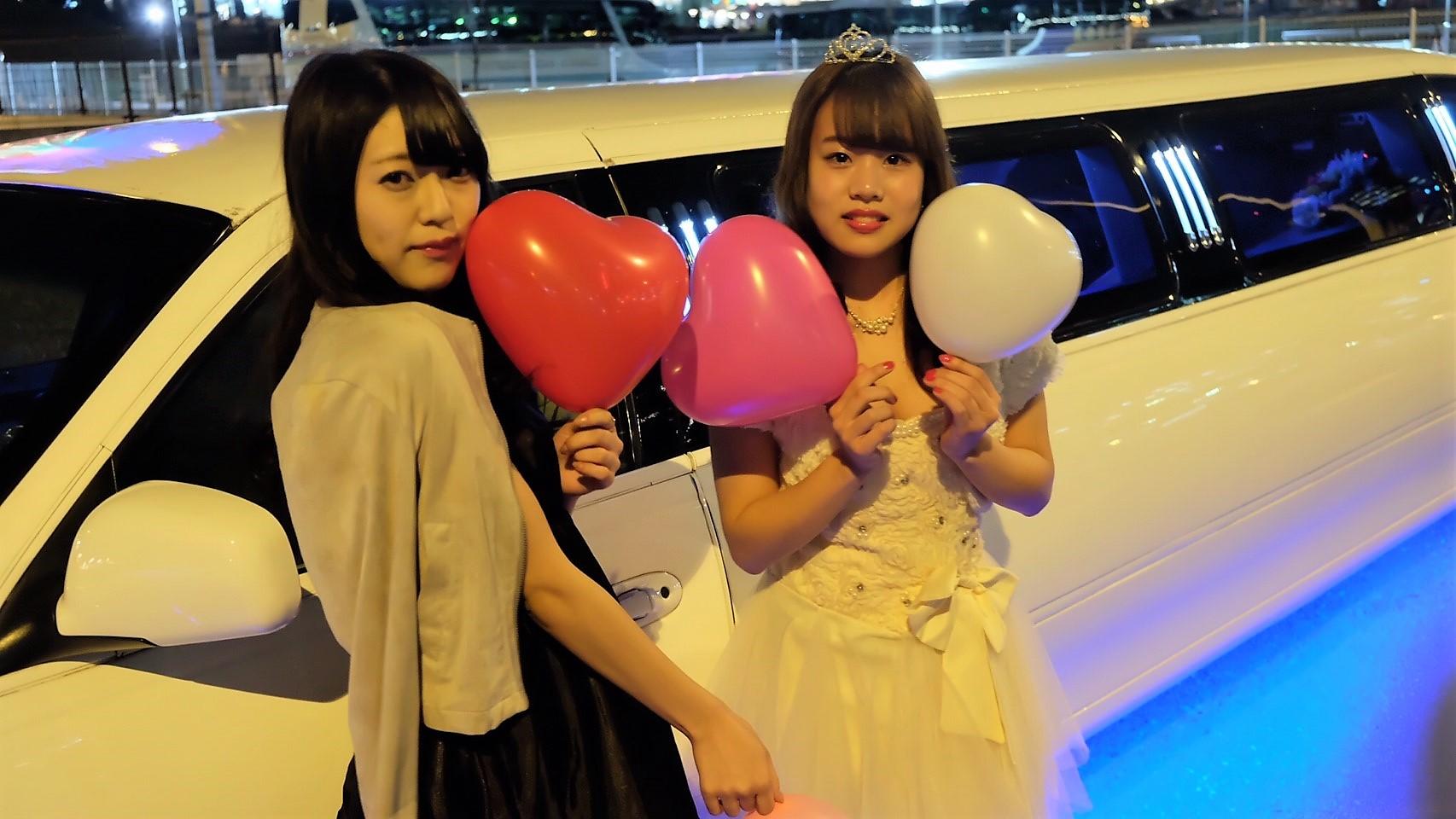 今日は東京にあるお台場で仲良し二人でリムジンパーティー