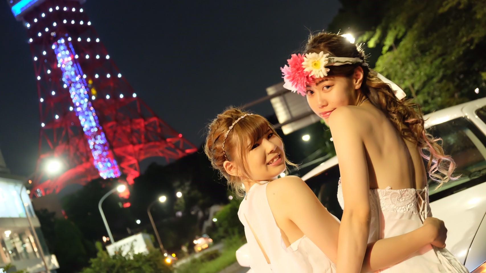 リムジンで東京タワー撮影