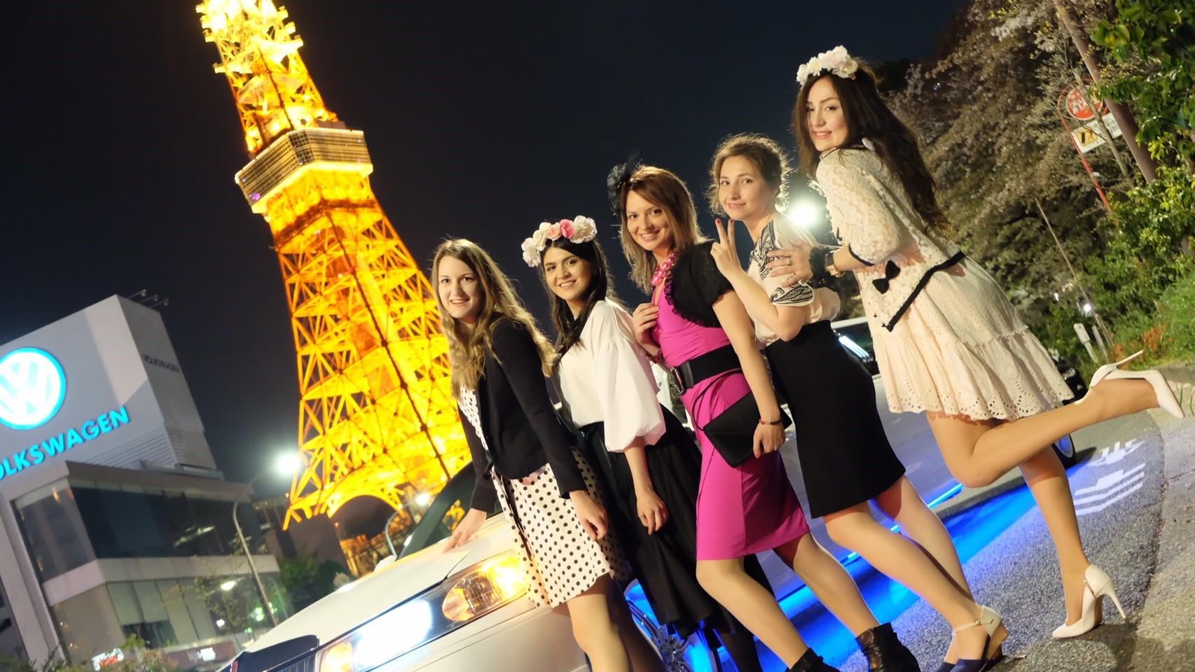 東京タワーでリムジン撮影