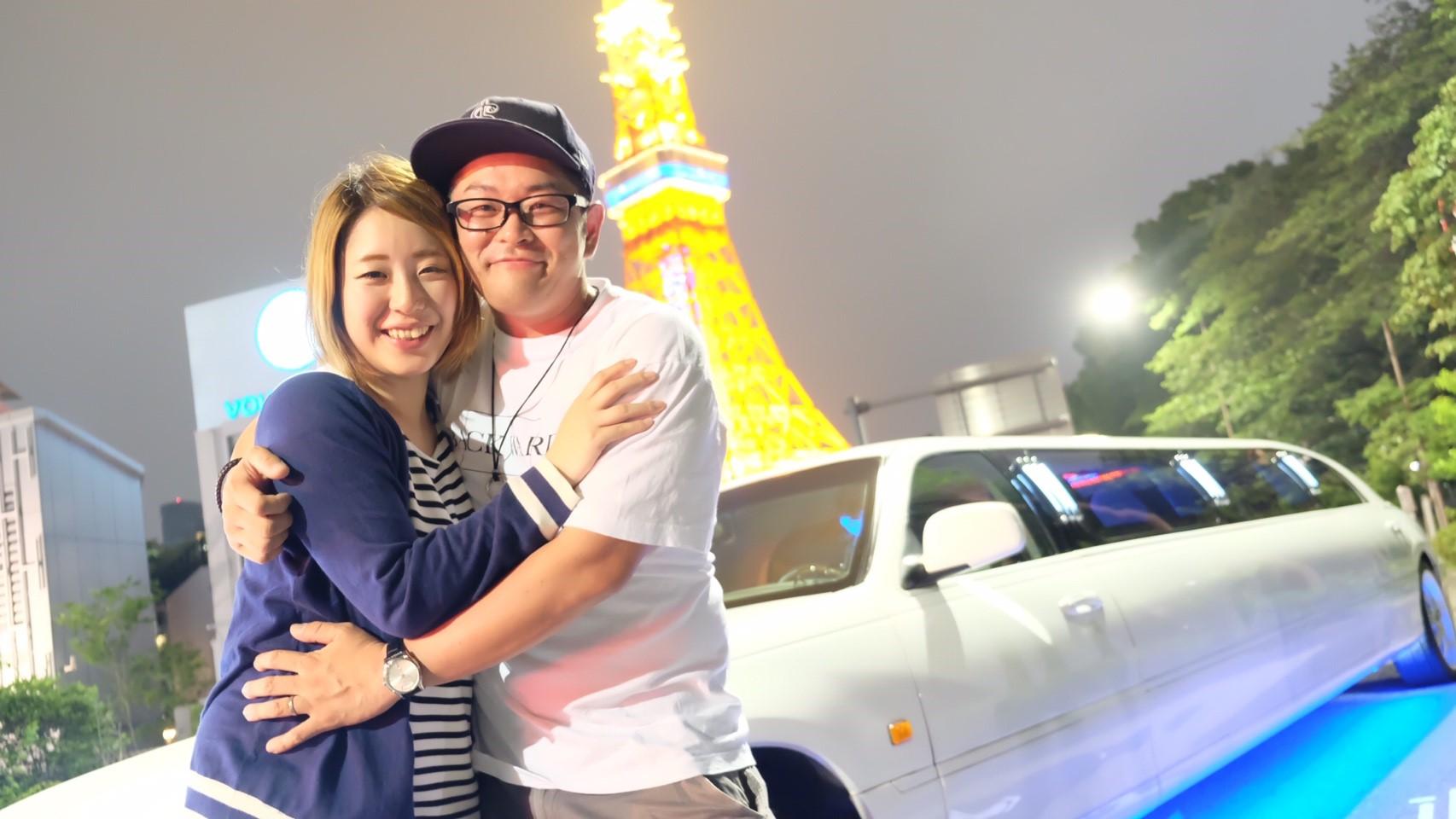 東京タワーとカップル撮影