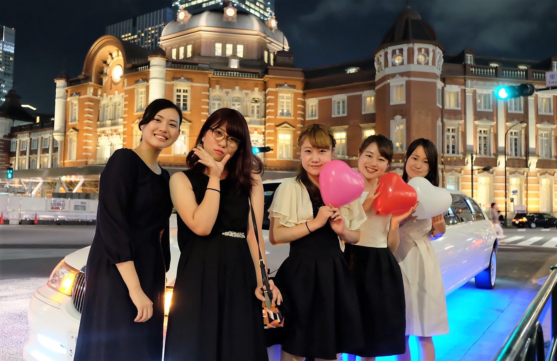 東京駅で撮影リムジンパーティー
