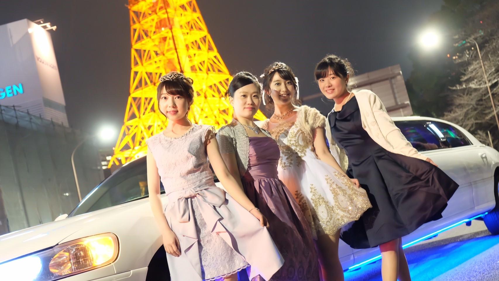リムジンパーティー 東京タワー撮影