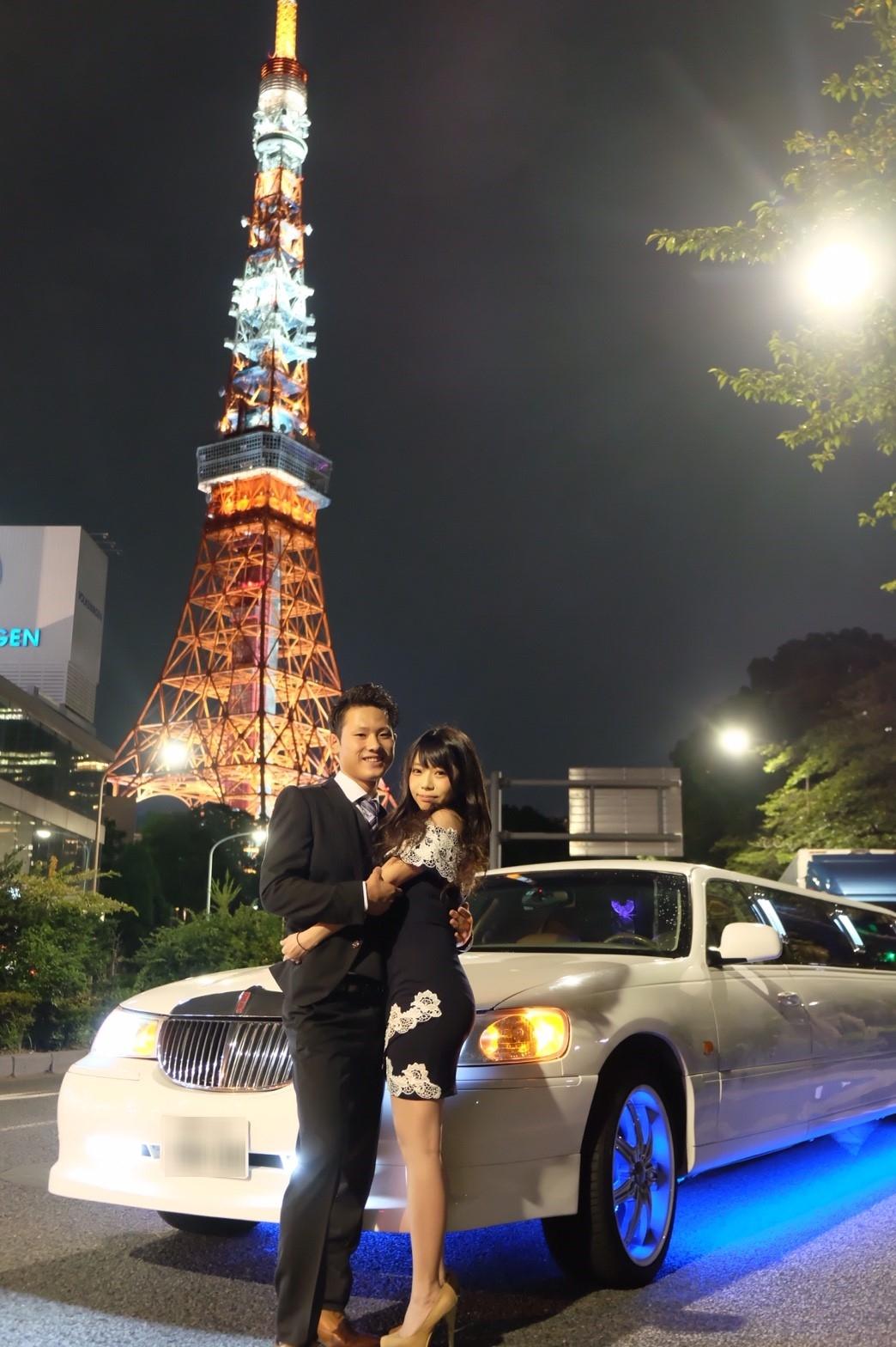 リムジンパーティー誕生日で東京タワー撮影 (2)